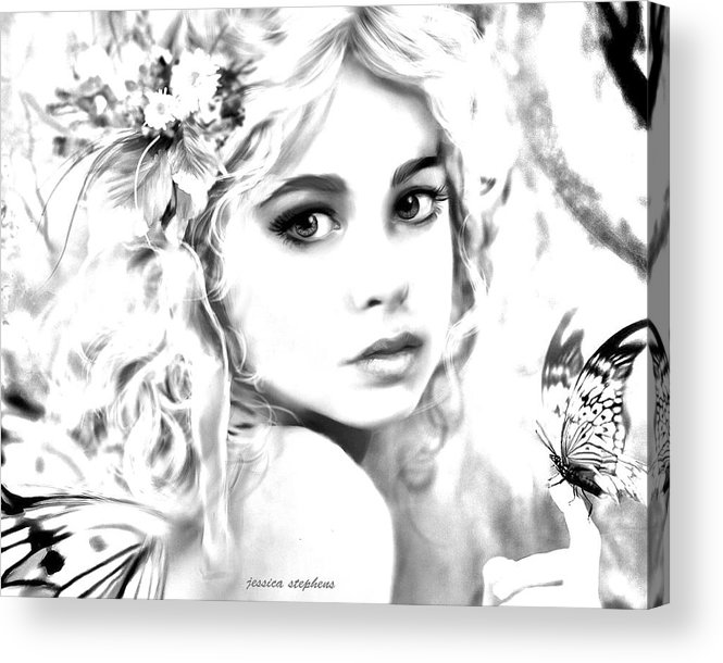 Graphite Acrylic Print featuring the painting Innocent Butterfly by Jessica Stephens