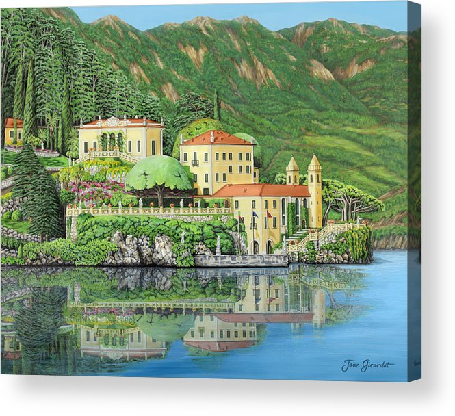 Lake Acrylic Print featuring the painting Lake Como Morning by Jane Girardot