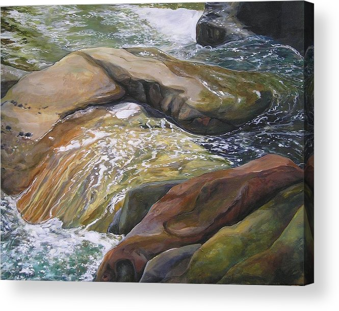 Water Acrylic Print featuring the painting Living Water by Denise Ivey Telep