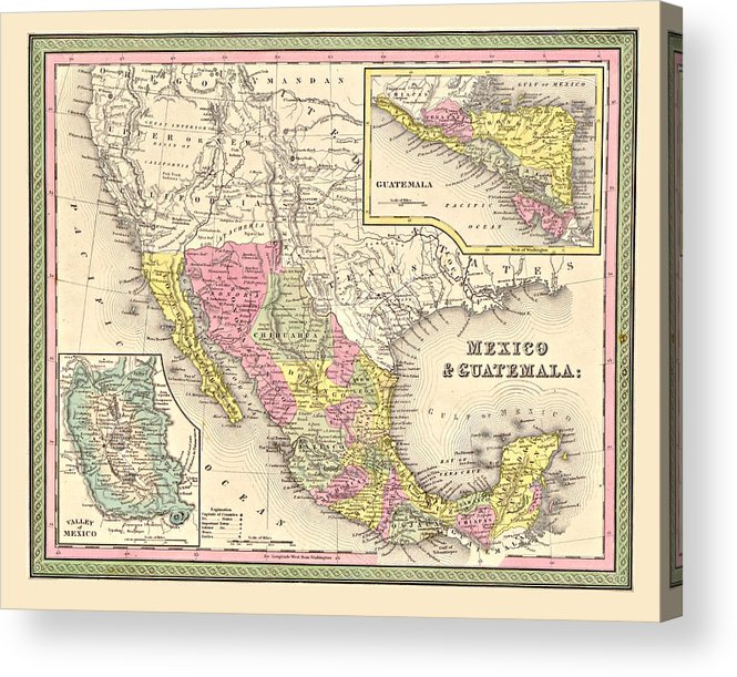 Vintage Acrylic Print featuring the digital art Map Of Mexico by Gary Grayson
