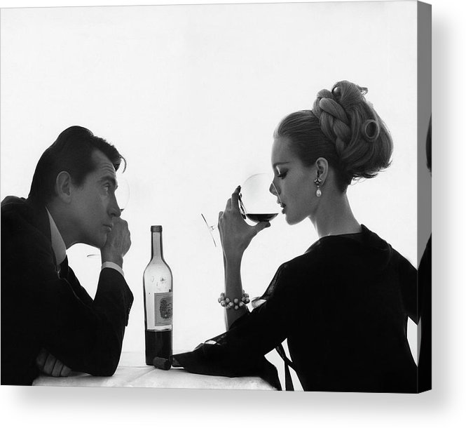 Entertainment Acrylic Print featuring the photograph Man Gazing At Woman Sipping Wine by Bert Stern