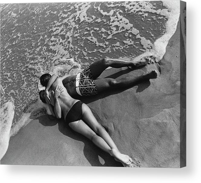 Model Acrylic Print featuring the photograph Models Embracing On A Beach by Mark Patiky