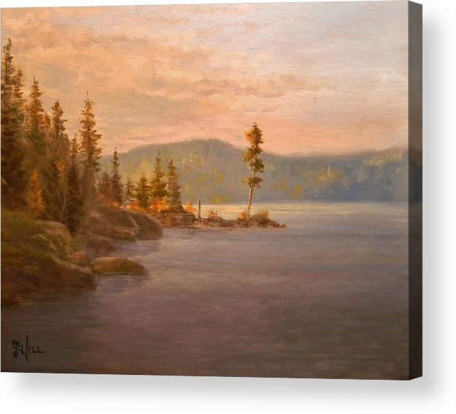 Coeur D'alene Acrylic Print featuring the painting Morning Light On Coeur D'alene by Paul K Hill