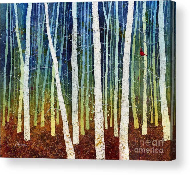 Cardinal Acrylic Print featuring the painting Morning Song 3 by Hailey E Herrera