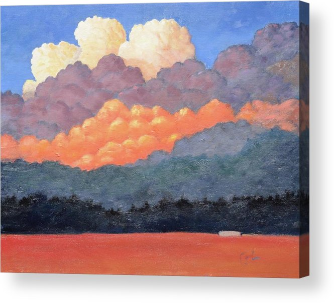 Clouds Acrylic Print featuring the painting New Mexico Cloudscape by Gary Coleman
