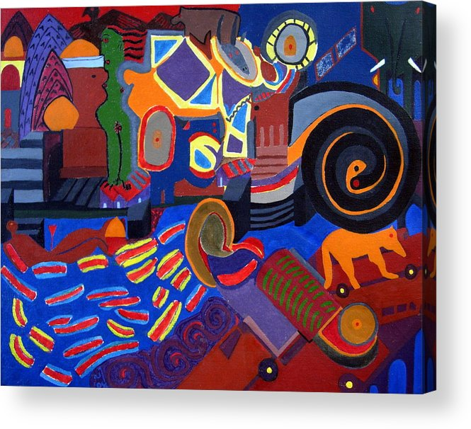 Abstract Cityscape Benares Hindu Holy City Acrylic Print featuring the painting No. 331 by Vijayan Kannampilly