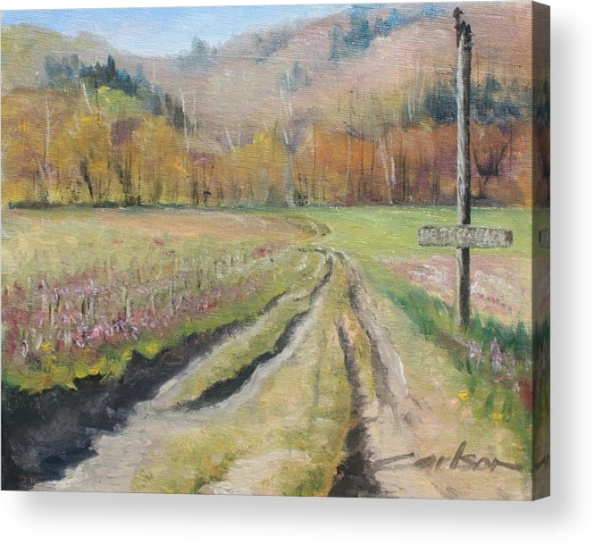 Plein Air Acrylic Print featuring the painting No Trespassing by Kevin Carlson