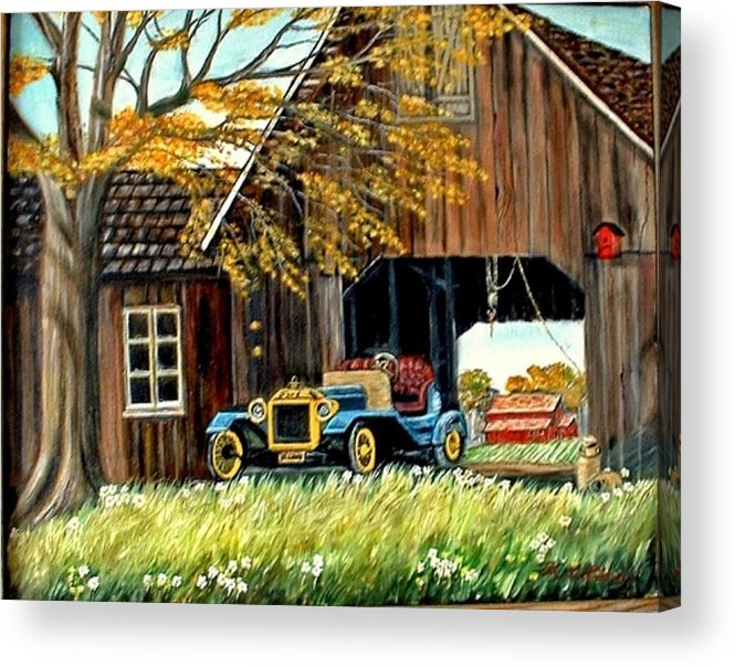 Old Barn Car Acrylic Print featuring the painting Old Barn And Old Car by Kenneth LePoidevin