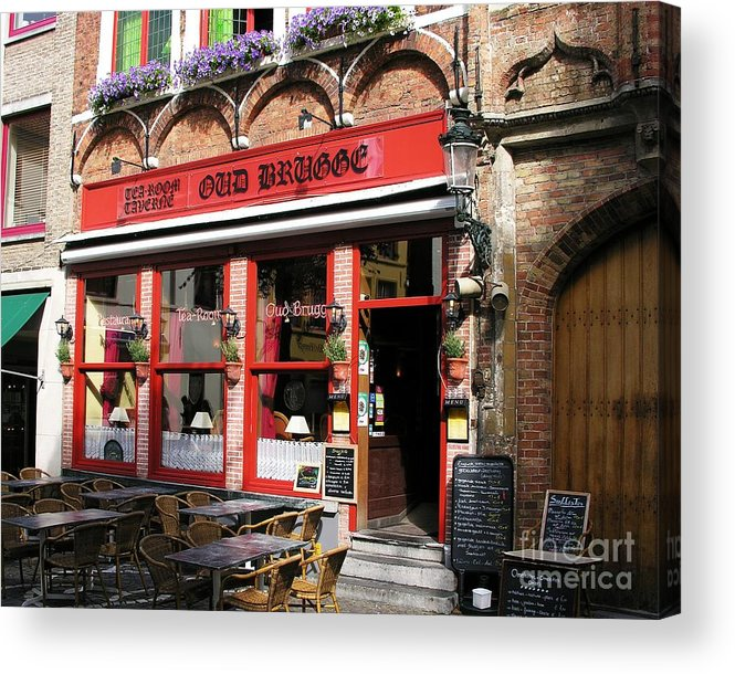 Cityscapes Acrylic Print featuring the photograph Old Brugge Tavern by Mel Steinhauer