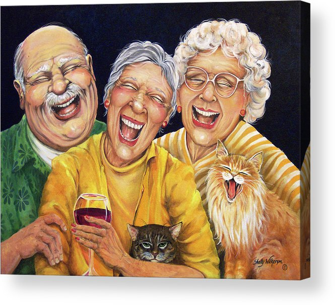 Whimsical Acrylic Print featuring the painting Party Pooper by Shelly Wilkerson