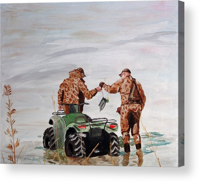 Duck Hunting Acrylic Print featuring the painting Picking Up The Decoys by Kevin Callahan