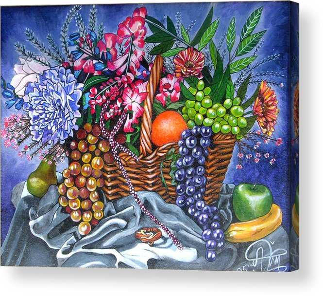 Plastic Fruits And Flowers Acrylic Print featuring the painting Plastic Fruits And Flowers by Annette Jimerson