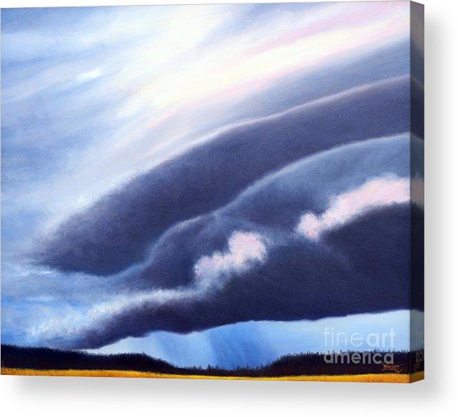 Prairies Acrylic Print featuring the painting Prairie Storm by Blaine Filthaut