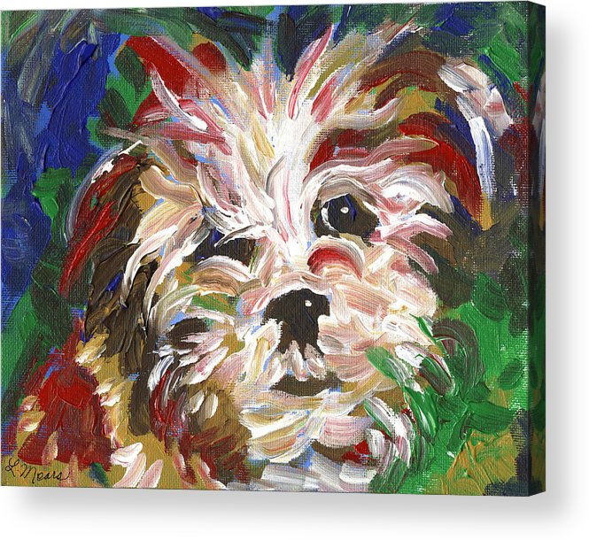 Puppy Acrylic Print featuring the painting Puppy Spirit 101 by Linda Mears