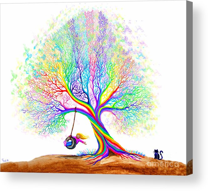 Tree Acrylic Print featuring the painting Rainbow Tree Fun by Nick Gustafson