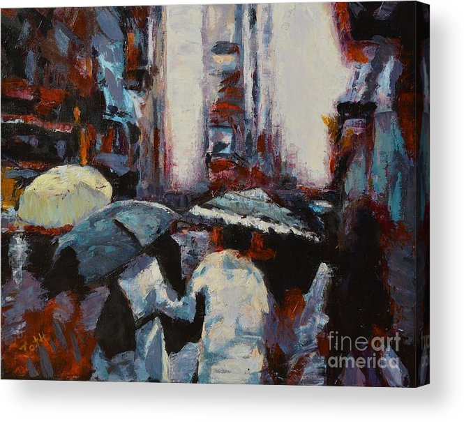 New York Acrylic Print featuring the painting Rainy New York by Laura Toth