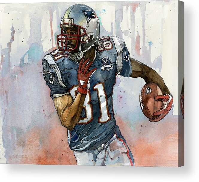 Randy Moss Acrylic Print featuring the painting Randy Moss by Michael Pattison