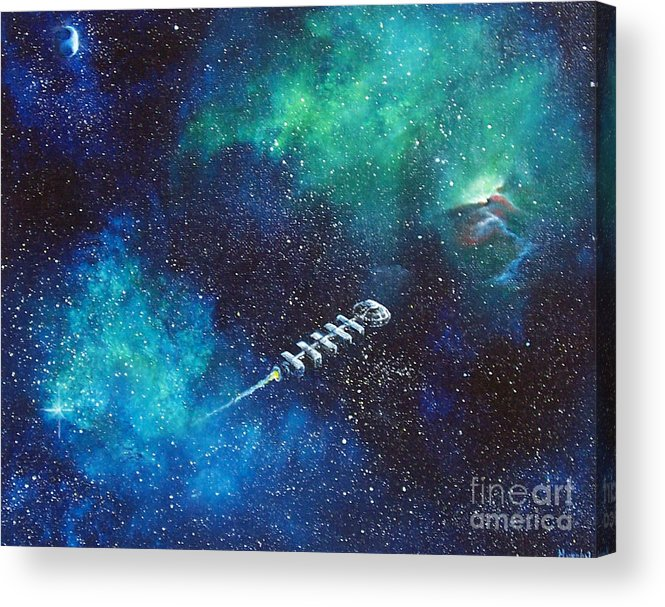 Spacescape Acrylic Print featuring the painting Reaching Out by Murphy Elliott
