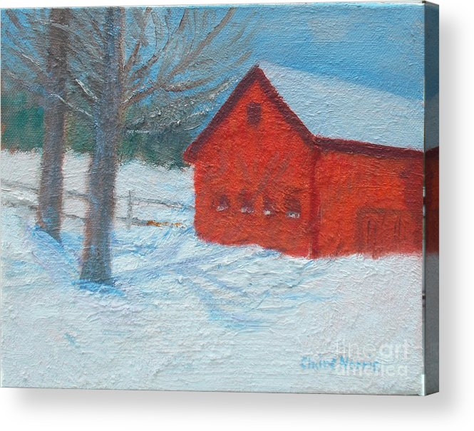 Red Acrylic Print featuring the painting Red Barn In Winter by Claire Norris