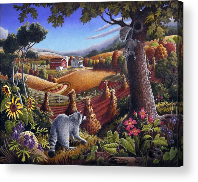 Rural Acrylic Print featuring the painting Rural Country Farm Life Landscape Folk Art Raccoon Squirrel Rustic Americana Scene by Walt Curlee