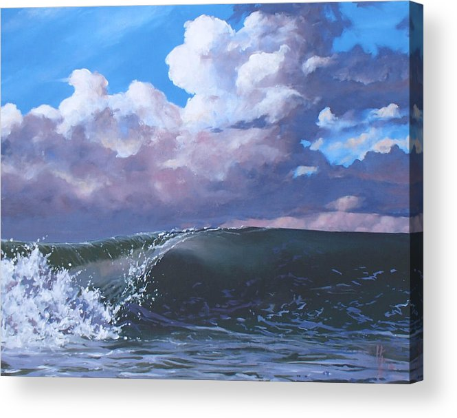 Wave Acrylic Print featuring the painting Santa Barbara by Philip Fleischer