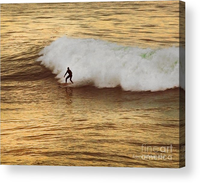 Surfer Acrylic Print featuring the photograph Santa Cruz Surfing At The Golden Hour by Artist and Photographer Laura Wrede