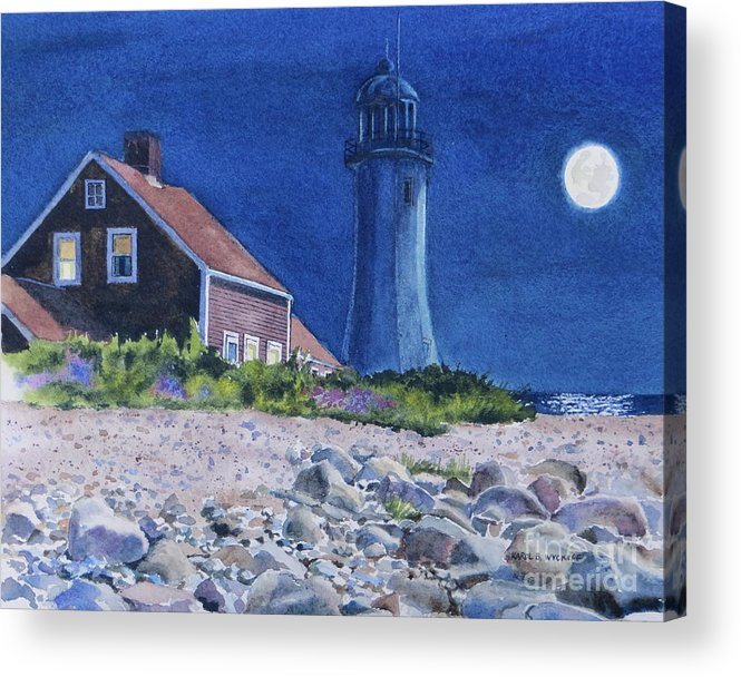 House Acrylic Print featuring the painting Scituate Light By Night by Karol Wyckoff