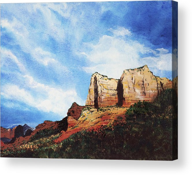 Sedona Arizona Acrylic Print featuring the painting Sedona Mountains by Mary Palmer