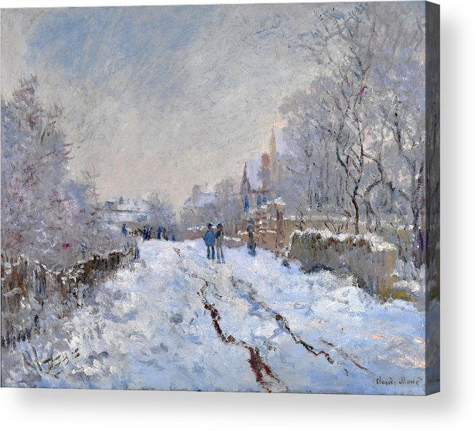 Claude Monet Acrylic Print featuring the painting Snow Scene At Argenteuil by Claude Monet