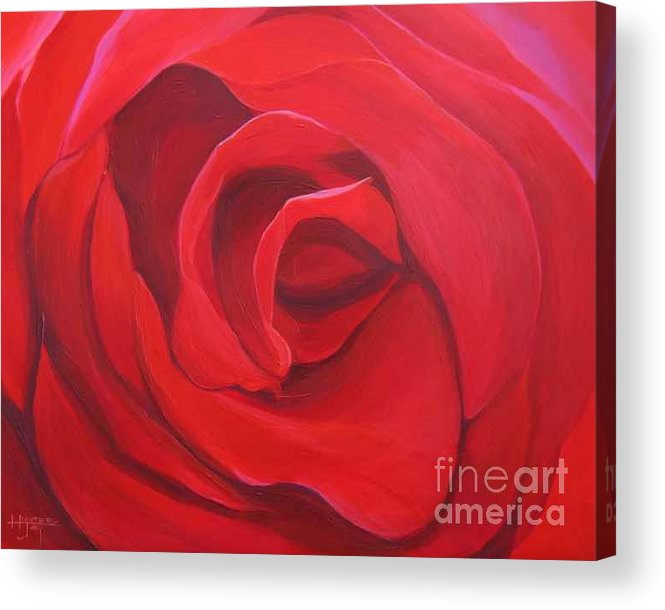 Rose In The Italian Countryside Acrylic Print featuring the painting So Red The Rose by Hunter Jay