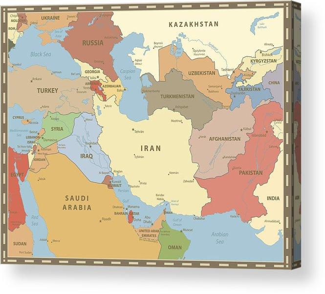 South West Asia Map Vintage Color Acrylic Print By Cartarium