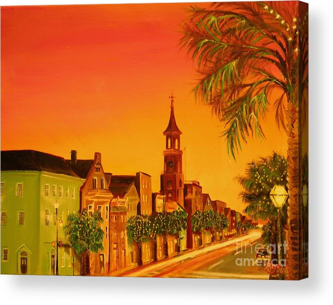 City Acrylic Print featuring the painting Southern Eve by Barbara Hayes