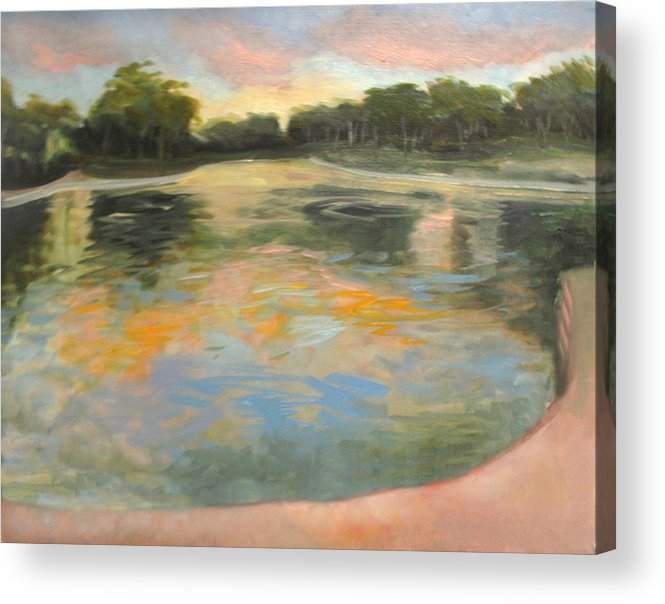 Evening Sunset Acrylic Print featuring the painting Spreckles Lake by Suzanne Cerny