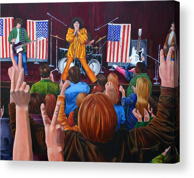 Mc5 Concert Grande Band Stage Concert Detroit 1968 Acrylic Print featuring the painting Testimonial by Cecil Williams
