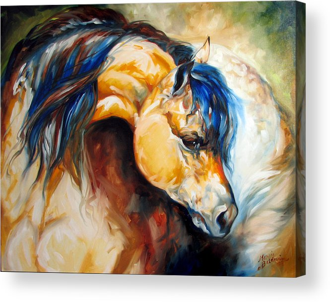 Horse Acrylic Print featuring the painting The Buckskin by Marcia Baldwin