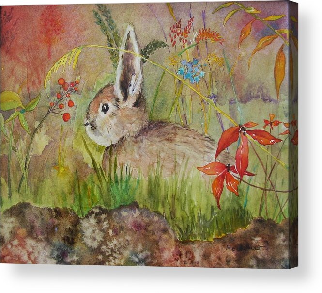 Nature Acrylic Print featuring the painting The Bunny by Mary Ellen Mueller Legault