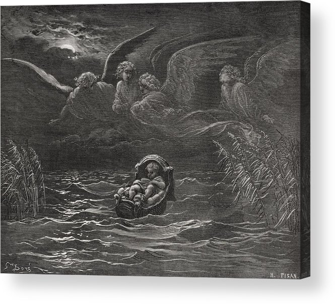 Baby Acrylic Print featuring the painting The Child Moses On The Nile by Gustave Dore