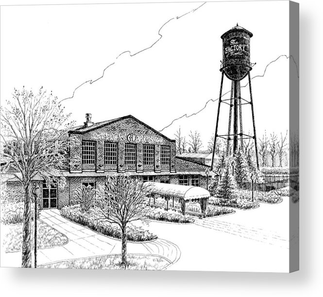 Pen And Ink Drawing Acrylic Print featuring the drawing The Factory In Franklin Tennessee by Janet King