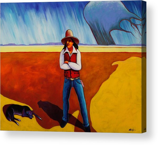 Native American Acrylic Print featuring the painting The Logic Of Solitude by Joe Triano