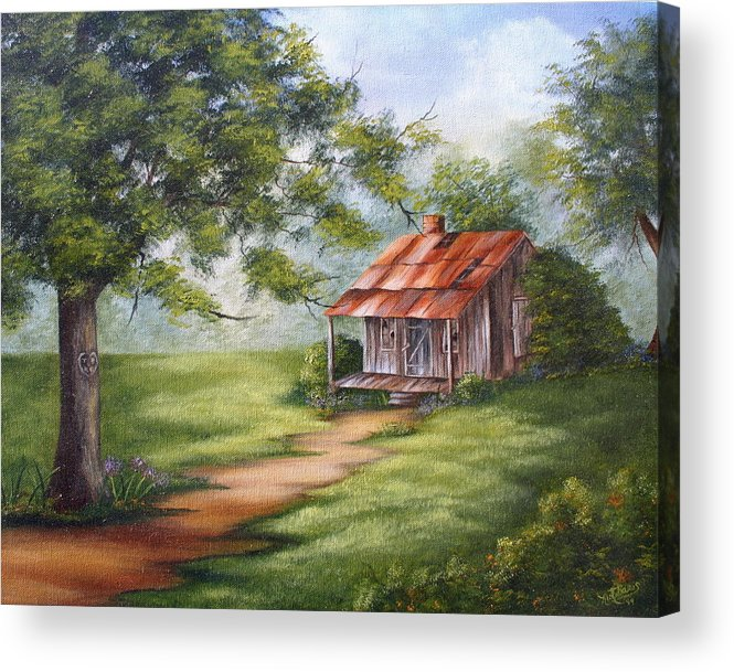 Oil Acrylic Print featuring the painting The Old Homestead by Ruth Bares