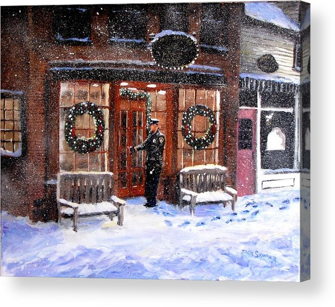 Police Acrylic Print featuring the painting The Shiver And Shake Watch On Christmas Eve by Jack Skinner