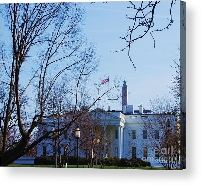 The White House Old Glory The Washington Monument An Iconis Image Of The Presidents Home Winter Trees Lanterns The Lawn Porticos Canvas Print Metal Frame Washington D.c. Greeting Card Acrylic Print featuring the photograph The White House 1 by Marcus Dagan