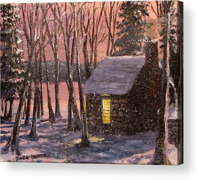 Thoreau's Cabin Acrylic Print featuring the painting Thoreau's Cabin by Jack Skinner