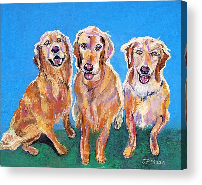 Golden Retrievers Acrylic Print featuring the pastel Three Playful Goldens by Julie Maas