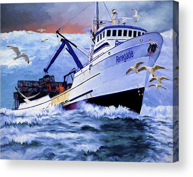 Alaskan King Crabber Acrylic Print featuring the painting Time To Go Home by David Wagner