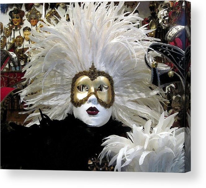 Travel Acrylic Print featuring the photograph Venetian Golden Carnival Mask by Patricia E Sundik