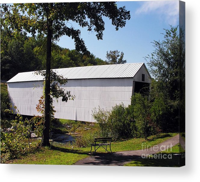 Nostalgia Acrylic Print featuring the photograph Walcott Covered Bridge 2 by Mel Steinhauer