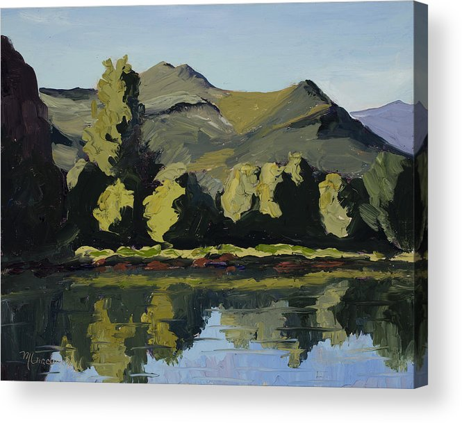 Plein Air Acrylic Print featuring the painting Watson Lake by Mary Giacomini