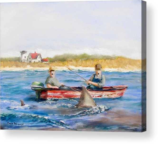 Boat Acrylic Print featuring the painting We Need A Biggah Boat by Jack Skinner