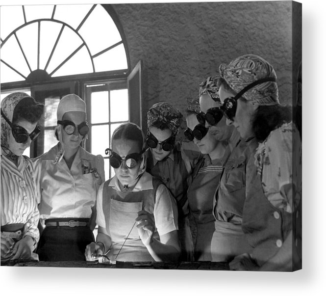 History Acrylic Print featuring the photograph Welding Training For Women by Everett